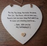 Shabby Personalised Chic Will You Be My Bridesmaid.. Heart Gift Any Names Dates